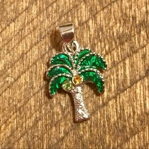 Jewelry - Palm Tree Necklace Charm Pendant Silver Tone Beach